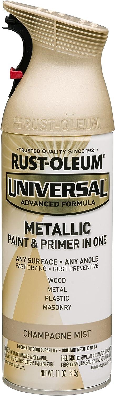 Rust-Oleum 261415 Universal All Surface Spray Paint 11 oz, Metallic Champagne Mist, Each