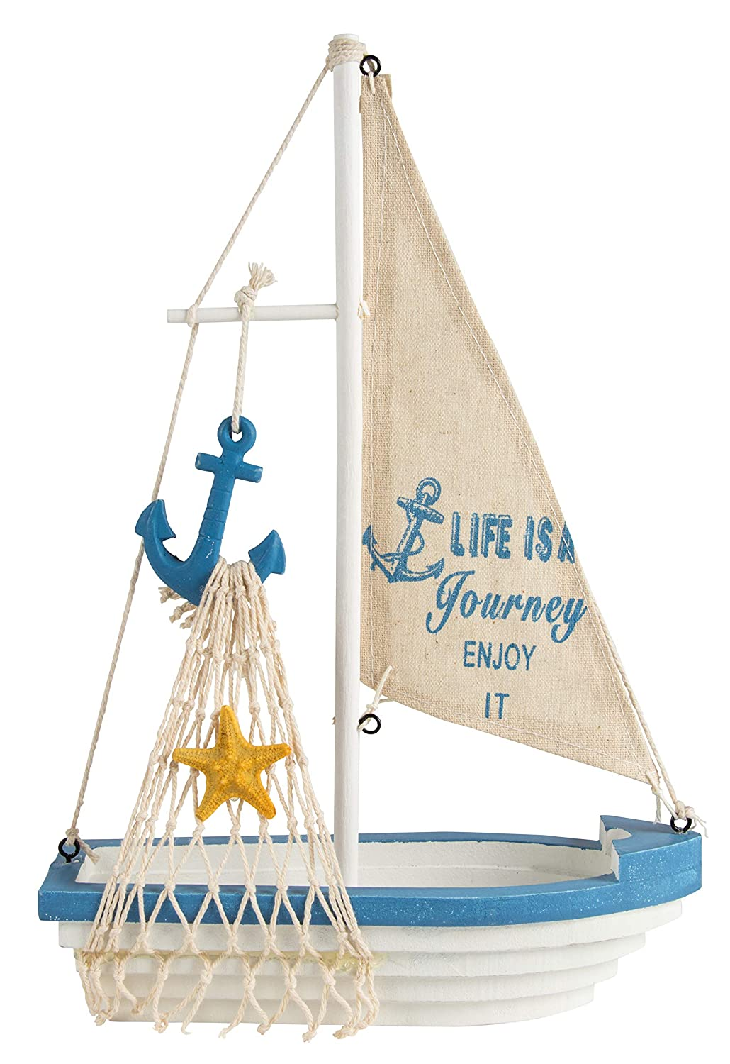 Juvale Sailboat Model Decoration - Wooden Sailing Boat Home Decor Set, Beach Nautical Design, Navy Blue and White with Anchor, 12.5 x 8.25 x 3 Inches
