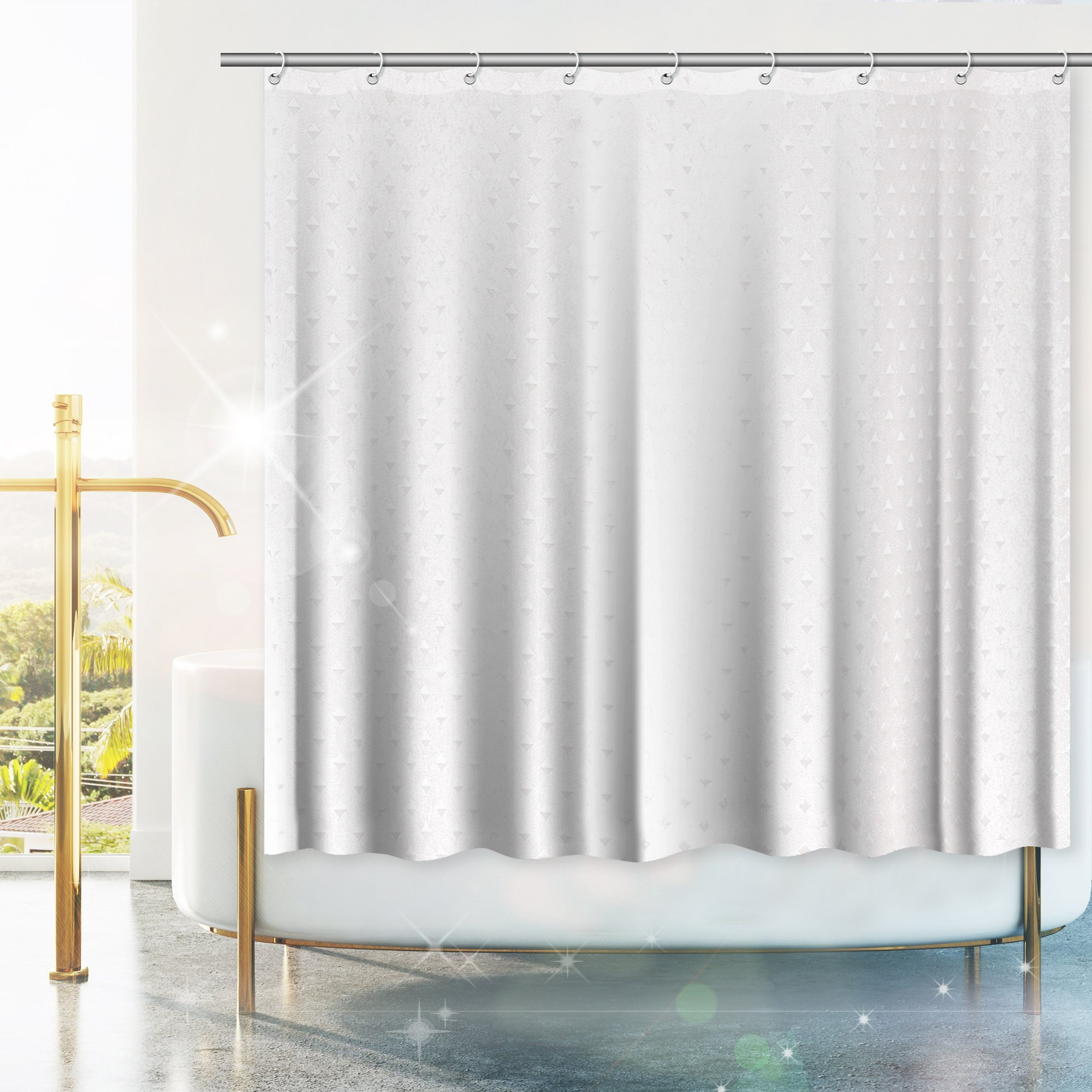 """White Shower Curtain Liner, Diamond Pattern –With 2 Free Bar Soap. Mold and Mildew Resistant, Waterproof, Antibacterial & Eco Friendly – Standard Size 71"""" x 71"""" Hotel Quality Shower Curtain Liner."""