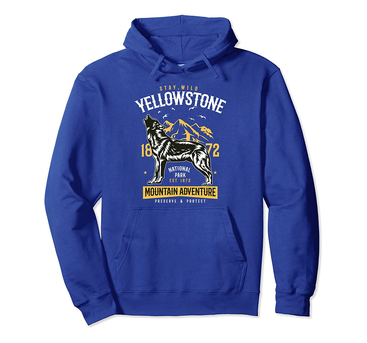 Yellowstone National Park Hoodie US Wolfe Camping Hiking-AZP