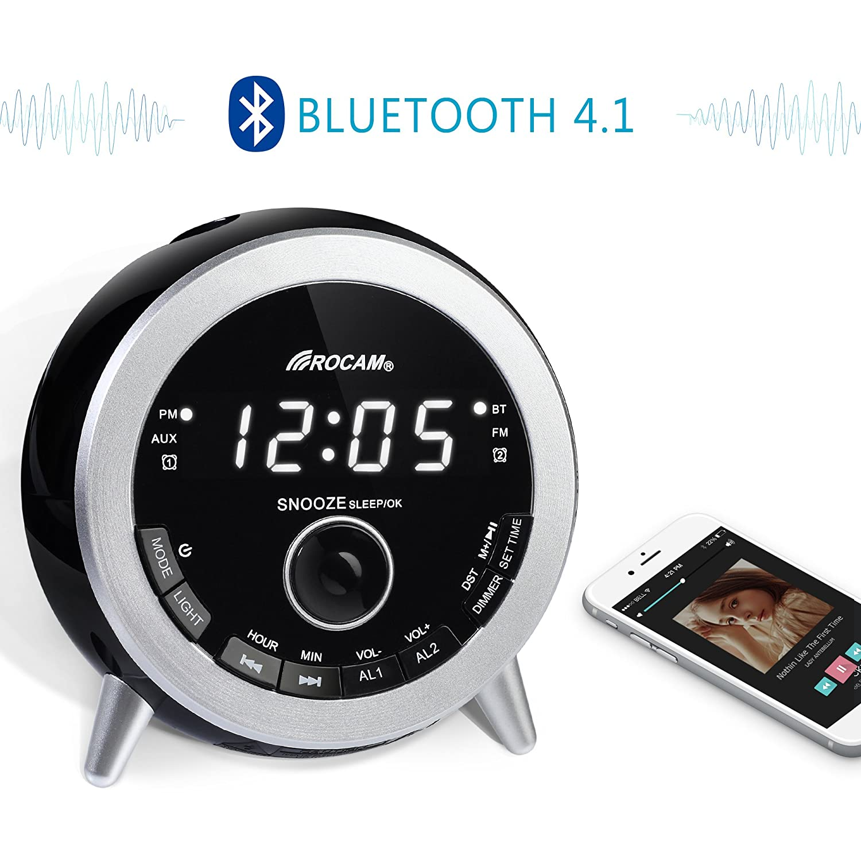 ROCAM Bluetooth Digital Alarm Clock Radio with FM Radio, Dual Alarm ...