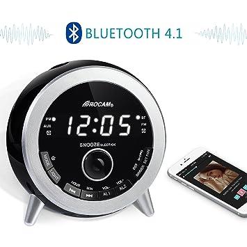 ROCAM Bluetooth Digital Alarm Clock Radio With FM Radio, Dual Alarm,  Snooze, Night