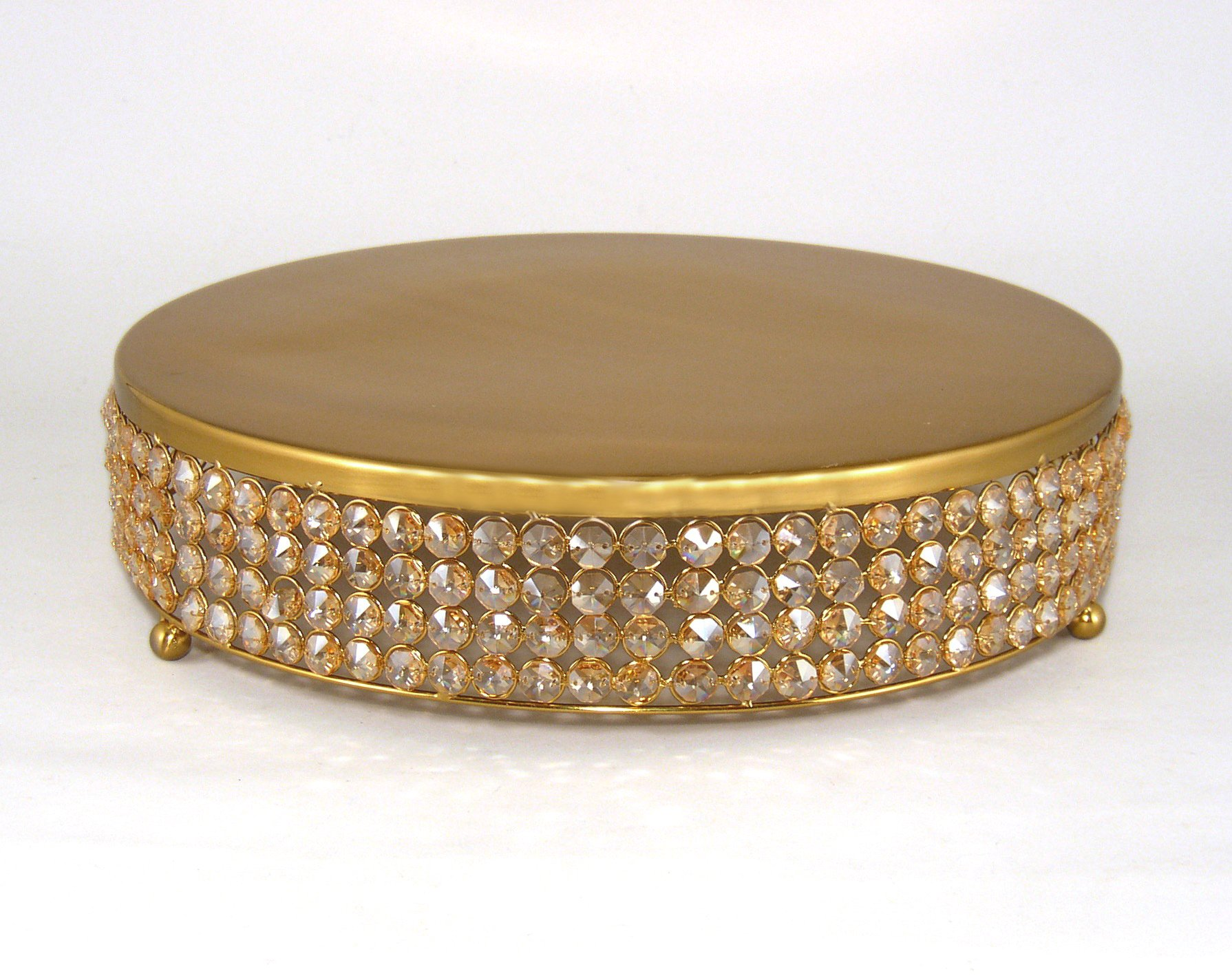 Wedding Champagne Colored Crystal Bead and Antique Gold Finish Metal Cake Stand 16''Diameter