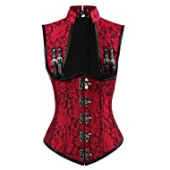 970fac5806 Charmian Women s Steampunk Steel Boned Gothic Brocade Underbust Corset Vest