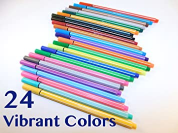 fineliner color pen set 24 coloring pens primary secondary neon colors