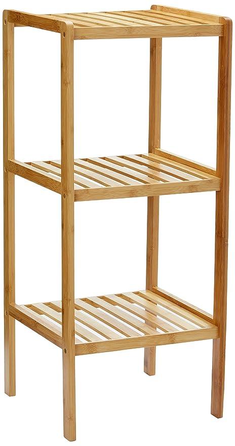 Relaxdays Bamboo Bathroom Shelf With 3 Tiers, 79 X 33 X 33 Cm, Free