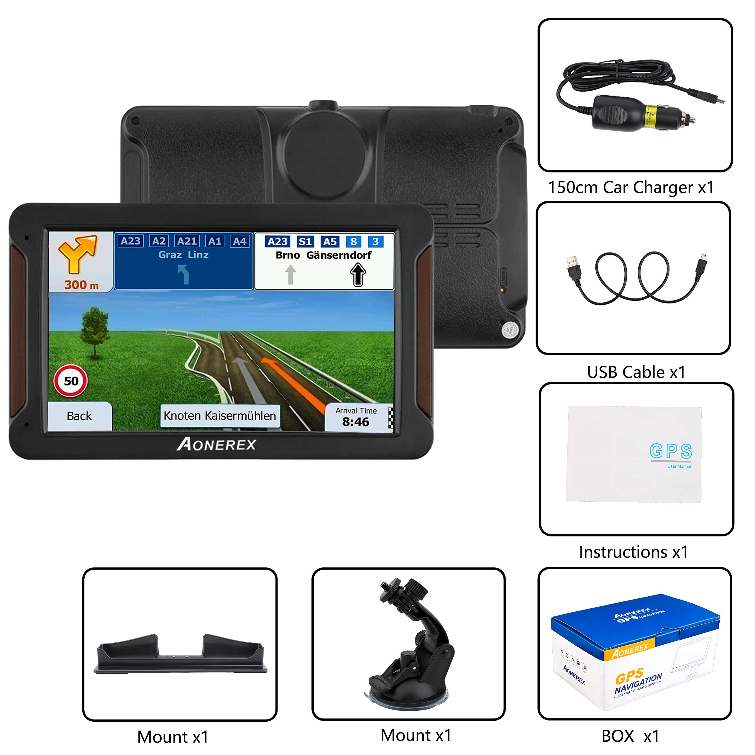 AONEREX GPS Navigation 7inch HD-8GB 256Mb Car GPS Navigation, Voice Traffic Warning,Speed Limit Reminder Satellite Navigation System with Non-Slip Car Bracket Holder-Lifetime Free Map Updates by Aonerex (Image #7)