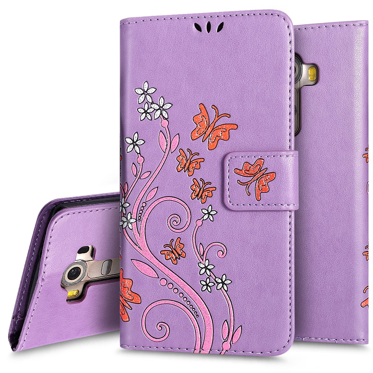 Custodia Case Cover per LG G4, Ukayfe Luxury Puro Colore Modello Goffratura Fiore e Farfalla Cristallo 3D Design Bumper Slim Folio Protectiva Lussuosa Custodia Cover per LG G4, [PU Leather] [Shock-Absorption] Portafoglio Cover Custodia con Super Sottile Mo