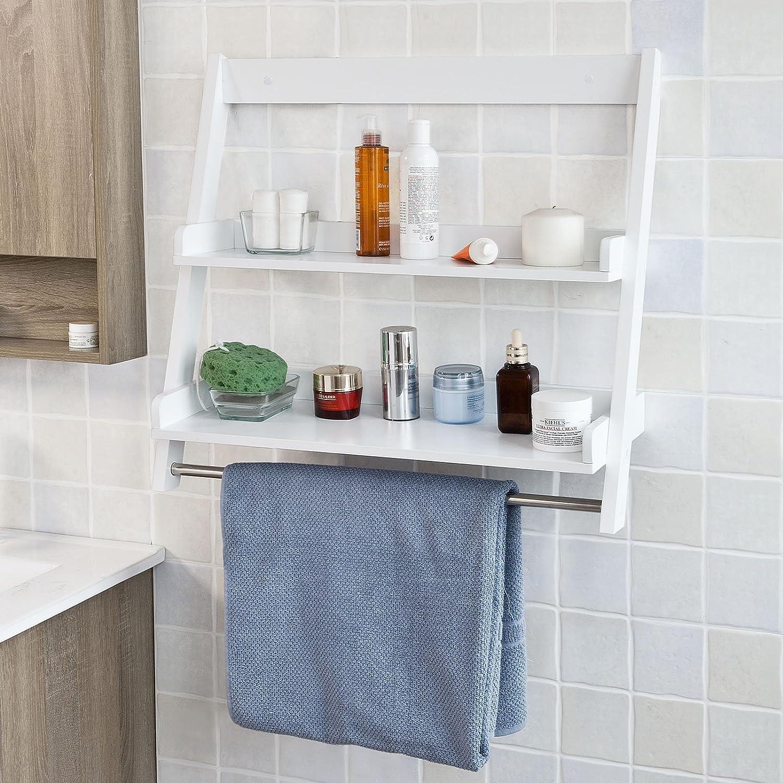 Design Wall Ladder Shelf amazon com sobuy frg117 w white wall mounted shelf storage display ladder bathroom 2 shelves 1 hanging rail home