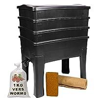 Worm Café, Lombricompostor 3 bandejas I 1 kg de lomo de Compost I, kit completo I, gran capacidad, 96 litros