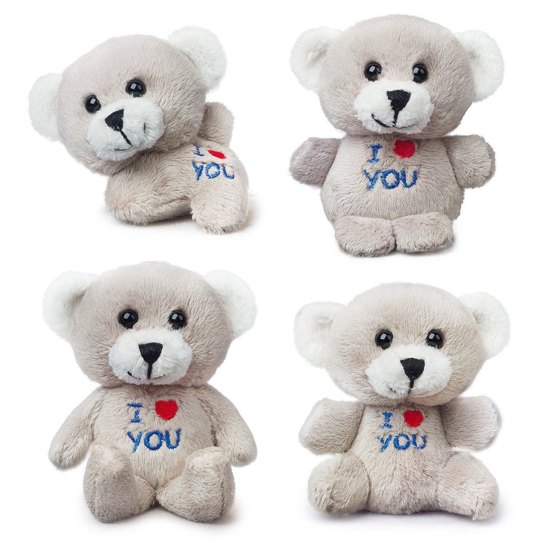 HongFang Toys 2.57Inch Pack of Four Bear of Allan Stuffed Animal Mini Teddy Bear Keychain Set Gold