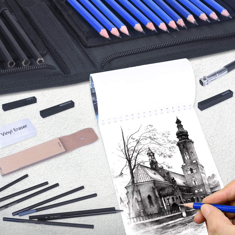 50 Pages D/ébutants ,Esquisse Crayons Set avec Graphite /& Fusain Outils Mat/ériel pour Dessiner Set Crayon Dessin et Croquis,41PCS Professionnel Crayons Dessin et Papier /à Dessin Ėtudiants et Artistes