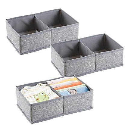mDesign Juego de 3 cajas organizadoras con 2 divisiones para pañales, toallitas, etc.