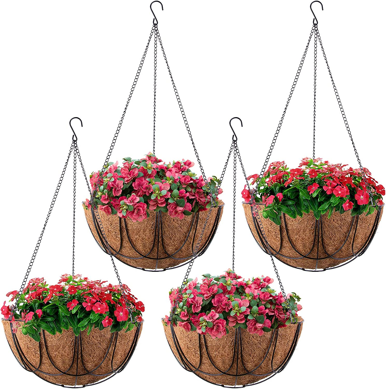 MICGEEK 4 Pack Metal Hanging Planter Basket with Coco Liner, 12 inches Metal Hanging Basket for Flower, Coco Liners for Plants, Hanging Basket for Plants, Garden, Outdoor, Indoor -HB02 (12 in)