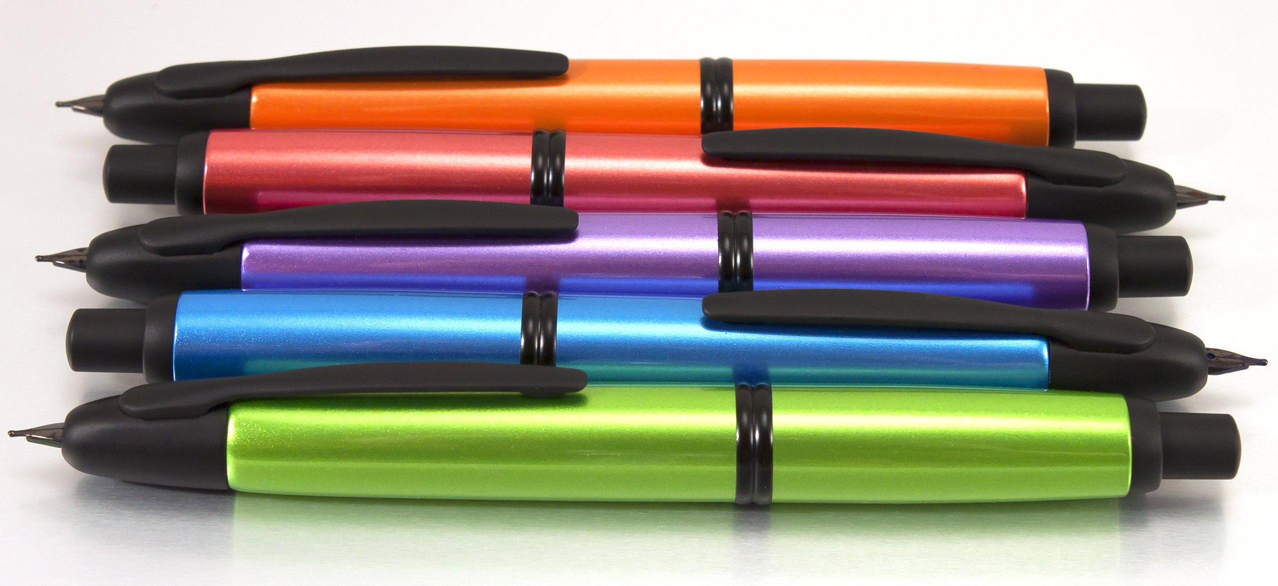 Pilot Vanishing Point Metallics Collection Retractable Fountain Pen, Valley Green Barrel, Blue Ink, Medium Nib (61095) by Pilot (Image #9)