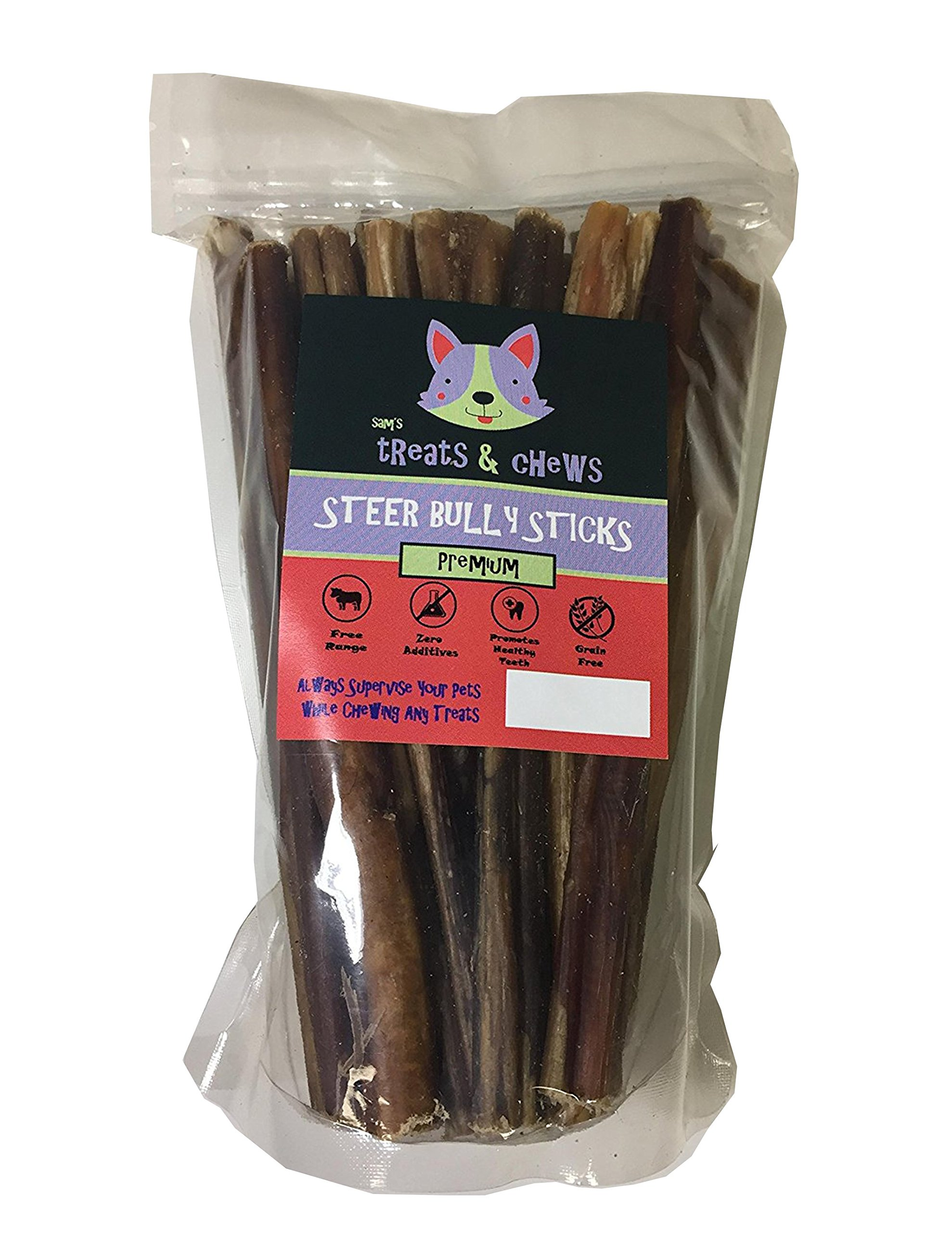 Sam's Treats & Chews 6 inch [ 15 Count ] Thin Junior Bully Sticks, Low Odor, Steer Sticks