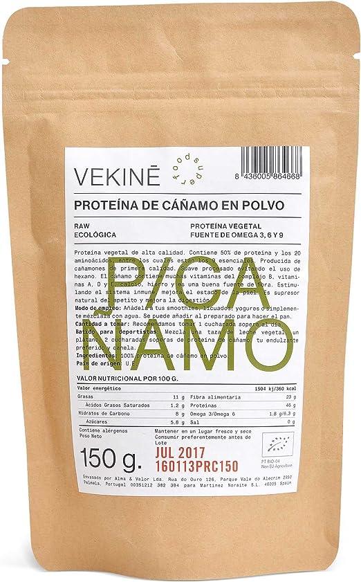 Proteína de Cáñamo Ecológica 150 gr superalimentos VEKINE proteínas vegetales