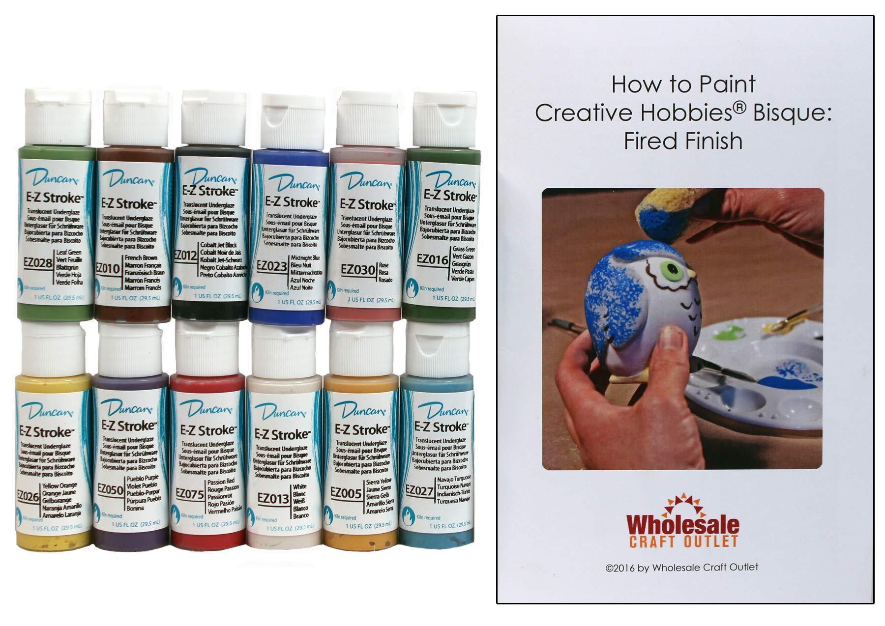 Duncan EZKIT-1 E-Z Stroke Translucent Underglaze Paint Set, 12 Best Selling Colors in 1 Ounce Bottles with Free How To Paint Ceramics Book