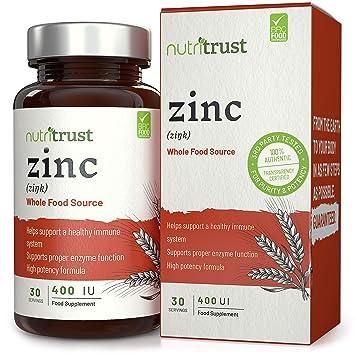 Comprimidos Zinc 400UI Nutritrust® - Fórmula Alta Potencia de Fuentes Alimenticias que Ayuda a un