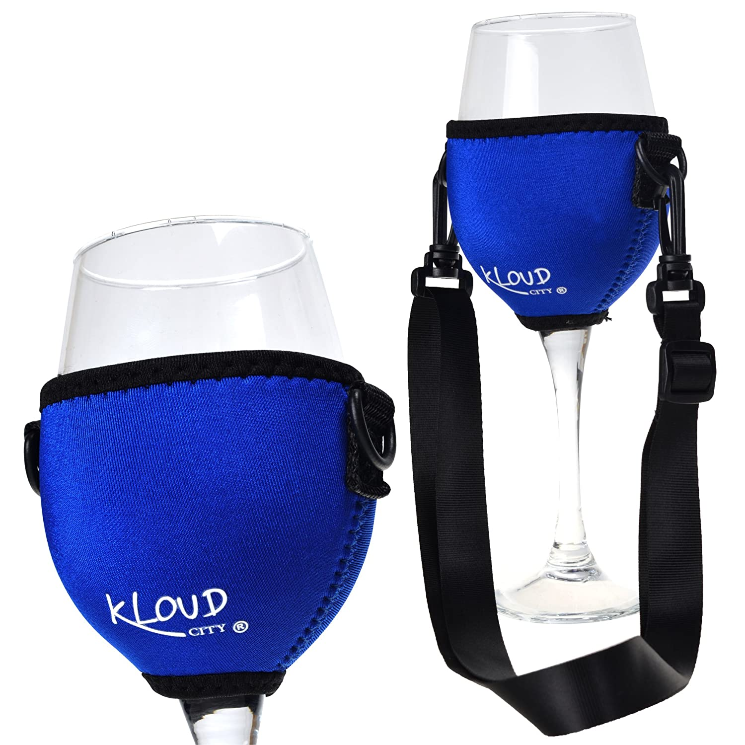 Blue Beautyflier Assorted Colors Wine Glass Insulator//Drink Holder//Neoprene Sleeve with Adjustable Neck Strap For Conference Cocktail Reception