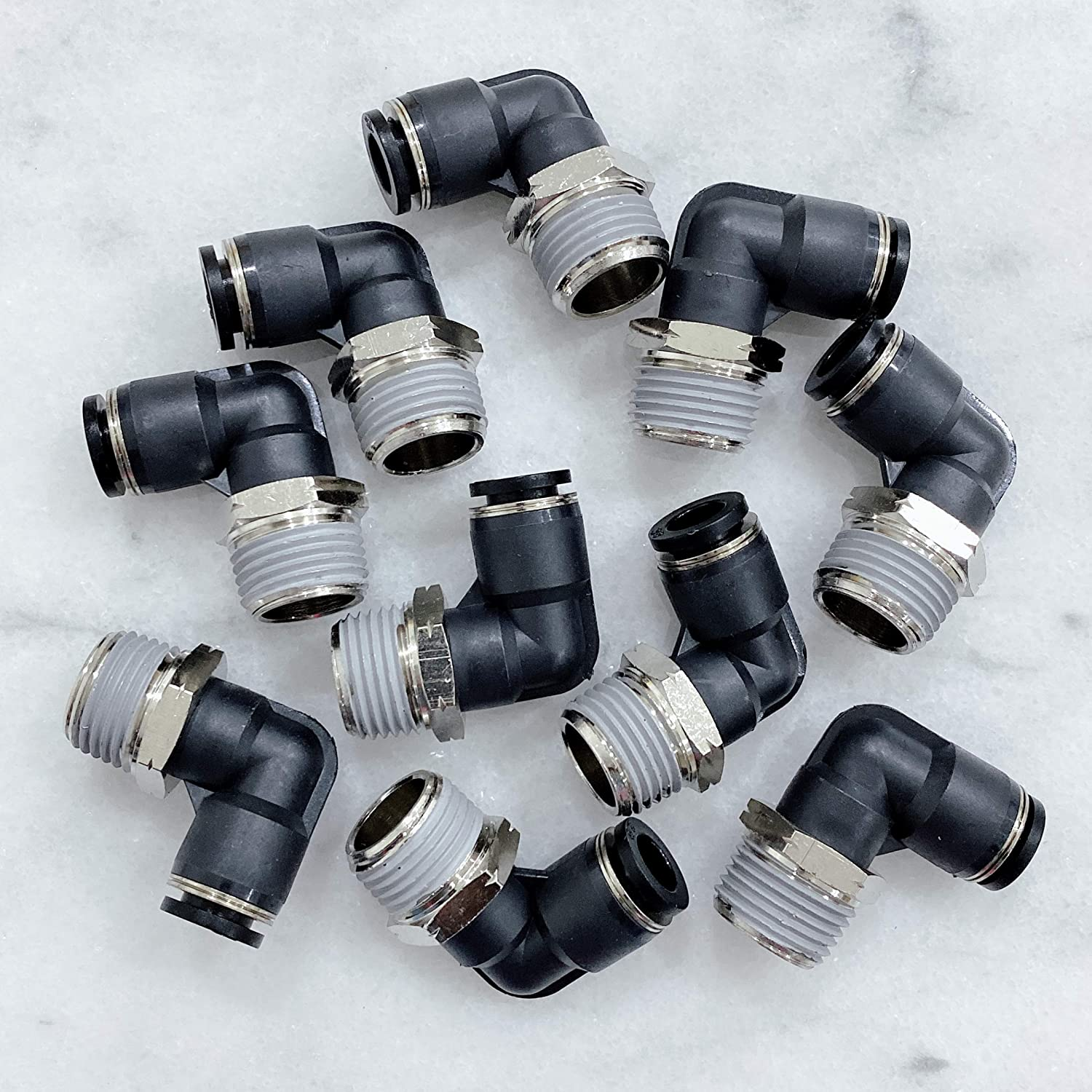 MacCan Pneumatic PL1//4-N2 Male Elbow 1//4 Tube OD x 1//4 NPT Thread Air Push to Connect Fittings Pack of 10