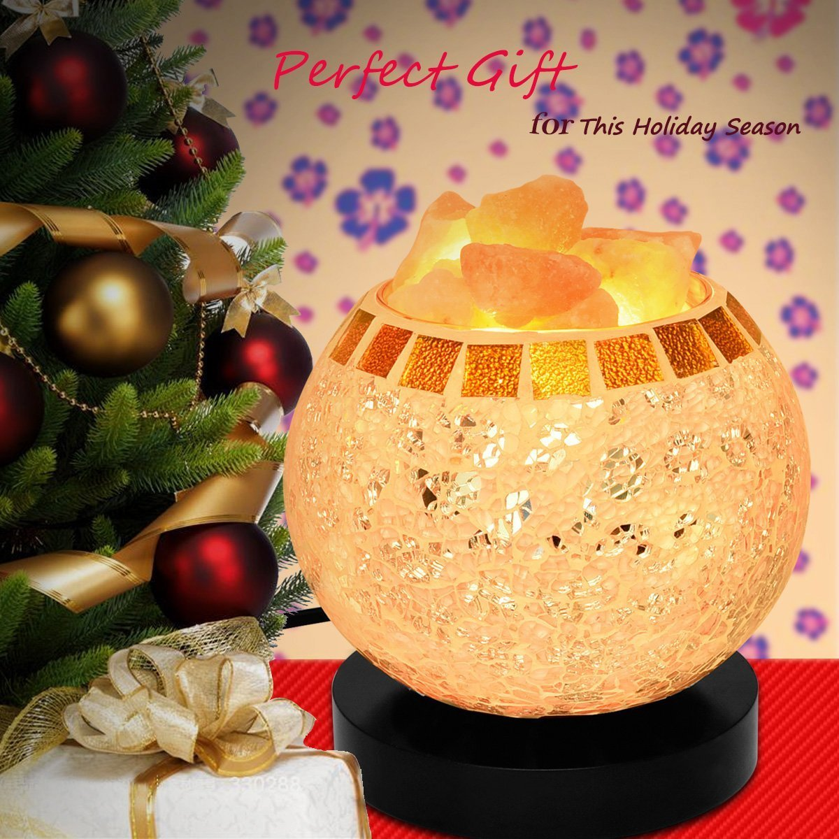 Himalayan Salt Lamp, Natural Crystal Salt Lamp Salt Chunks in Glass Bowl with Wood Base, Bulb and Dimmer Control for Christmas Gift and Home Decorations. [energy class a+++] by COOWOO (Image #3)