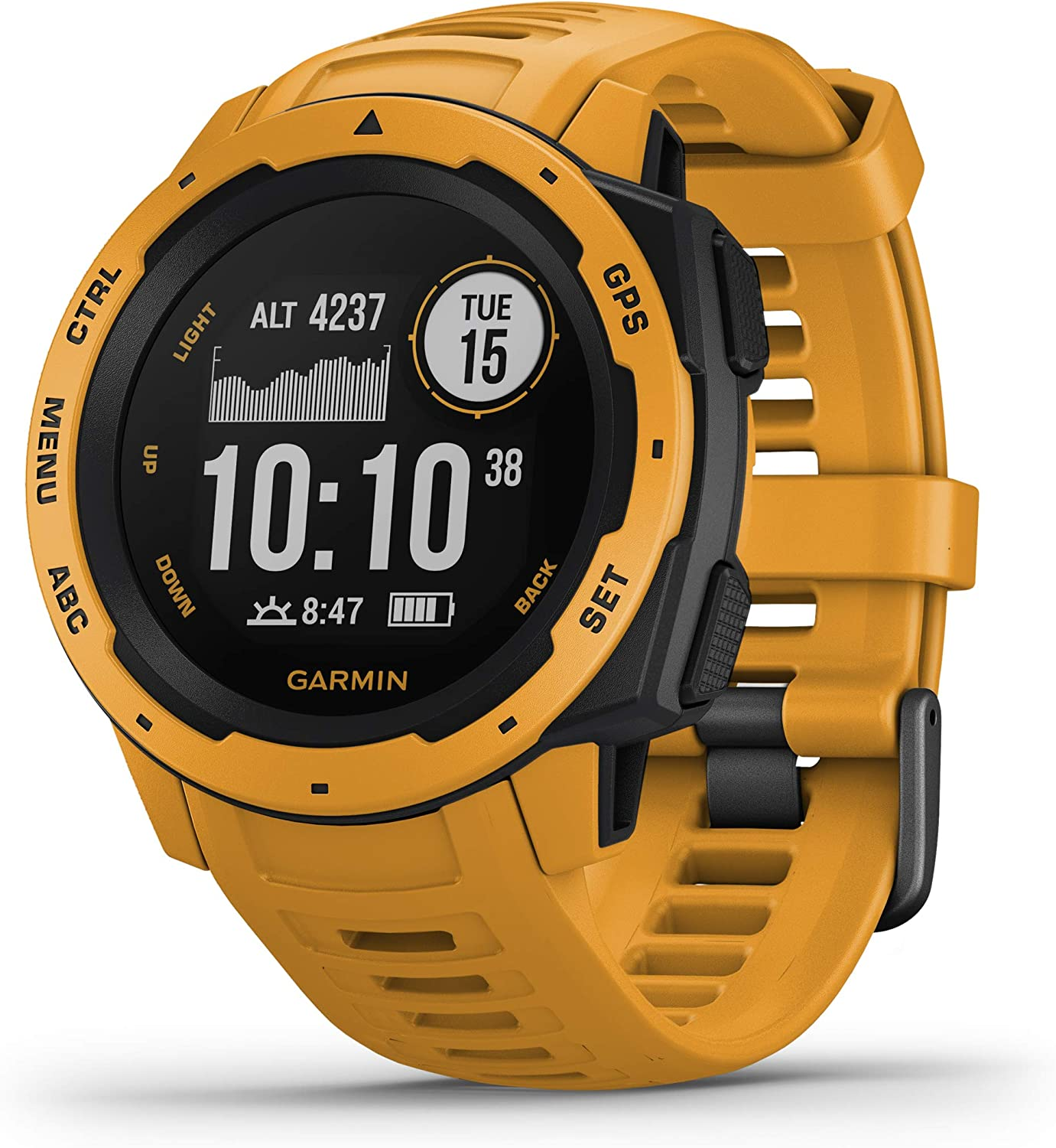 Amazon.com: Garmin Instinct, Rugged Outdoor Watch with GPS, Features  GLONASS and Galileo, Heart Rate Monitoring and 3-Axis Compass, Sunburst  Yellow