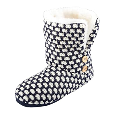Womens Liana Knitted Slipper Boots Cosy Faux Fur Lining Non Slip