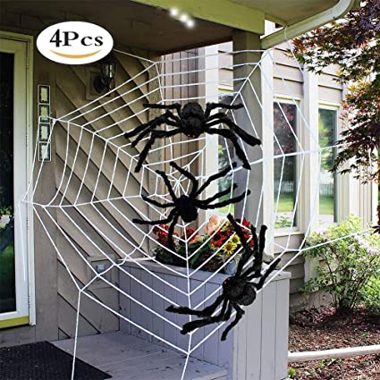 11 feet spider web halloween decorations with 3 pcs 2 feet large spiders halloween decorations outdoor
