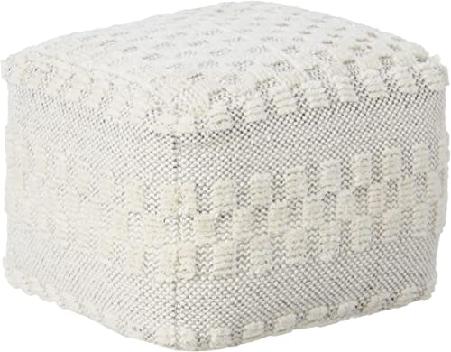 LR Home Tufted Checkered Geometric Pouf