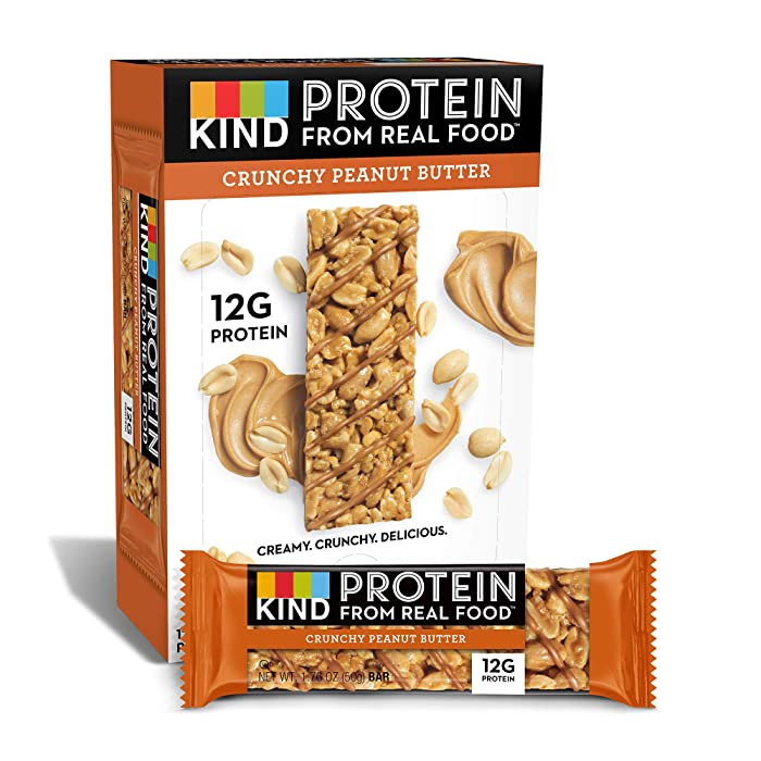 KIND Protein Bars, Crunchy Peanut Butter, Gluten Free, 12g Protein,1.76 Ounce (12 Count (Pack of 1))