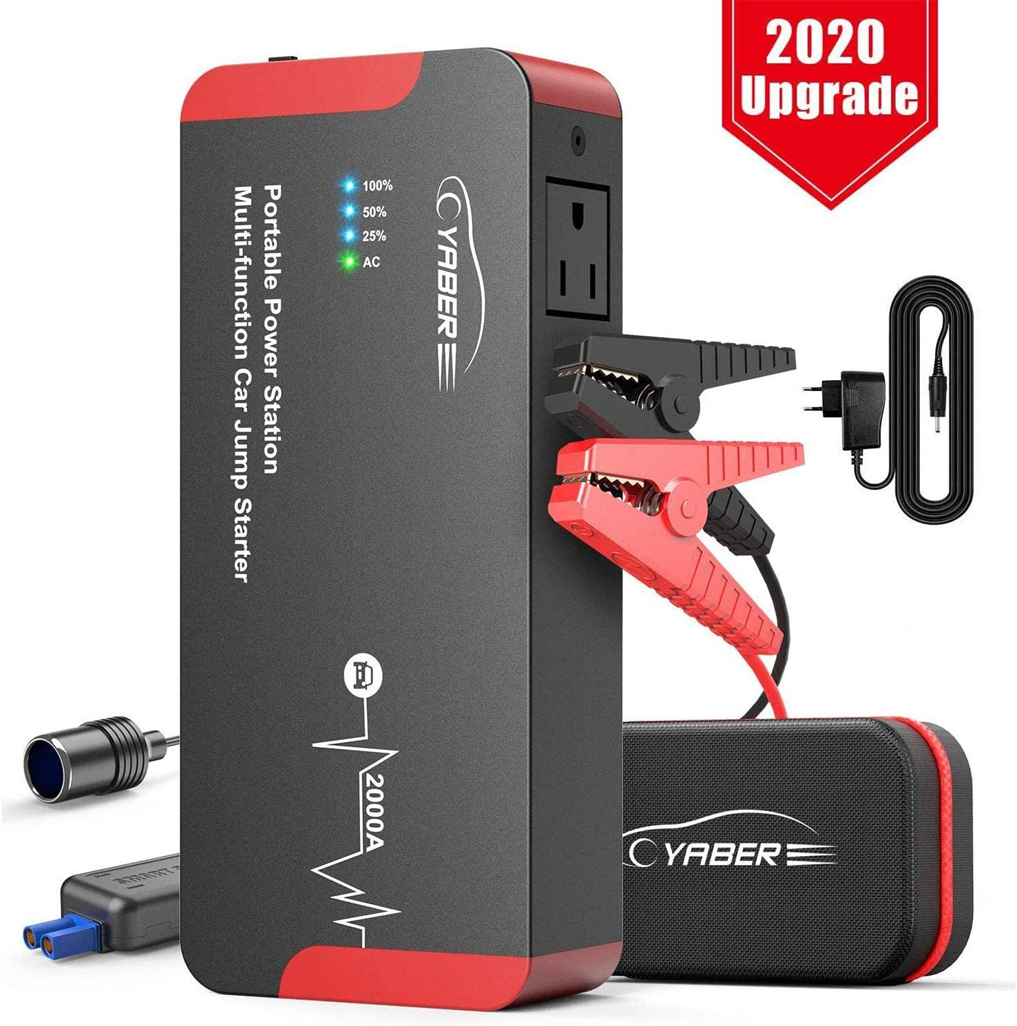 Jump Starter, YABER 2000A Peak 22000mAH 100W Portable AC Jump Starter Car Battery Jumper Starter (All Gas or 8.0L Diesel) UL Certified Car Booster Battery Charging Port/AC Port