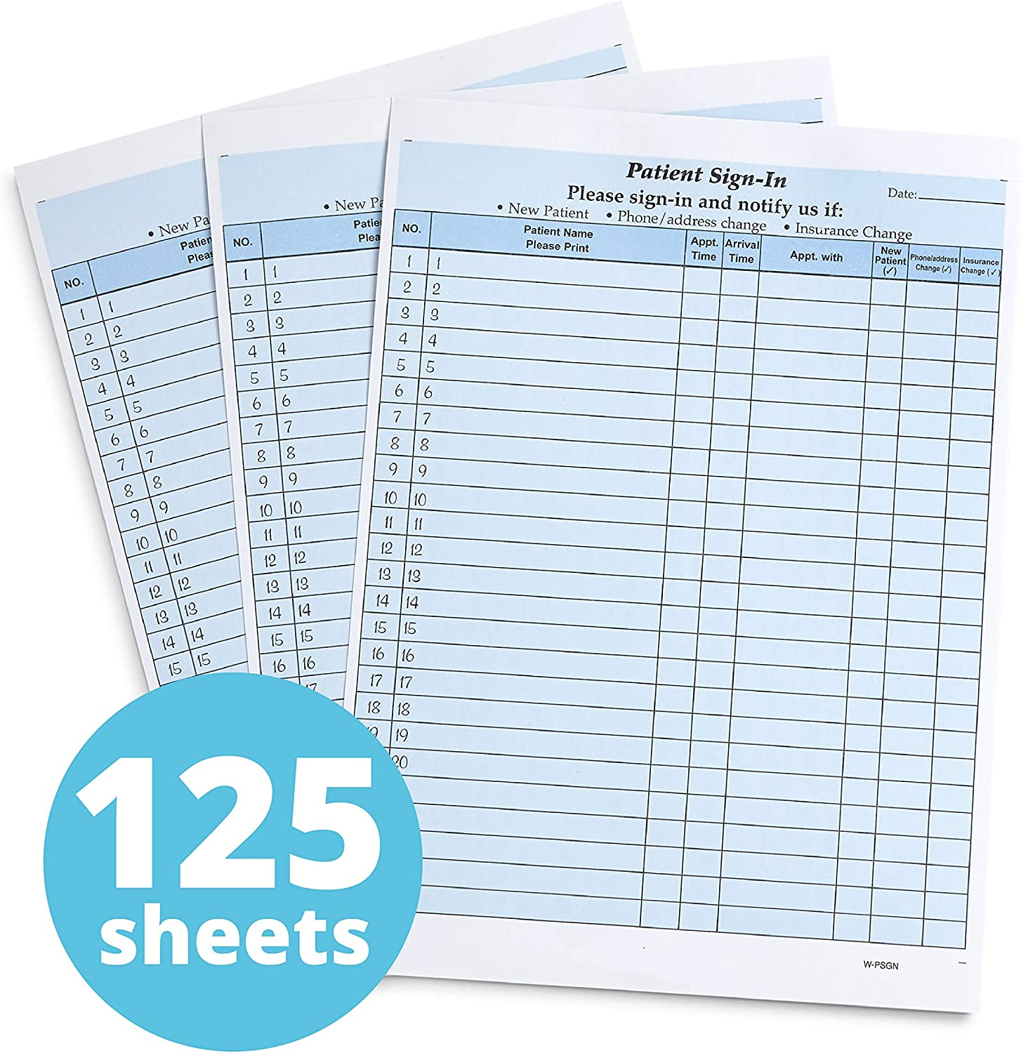Blue Summit Supplies Patient Sign in Sheets, Hippa Compliant, Peel Off Adhesive Labels Carbonless 3 Part Forms with, for Privacy in Doctor, Medical, Dental Office, Blue, 125 Pack