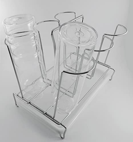 Bottle Drainer Drying Rack For 6 Large Water Bottles White Drip Tray Mason Jars Cutting Boards