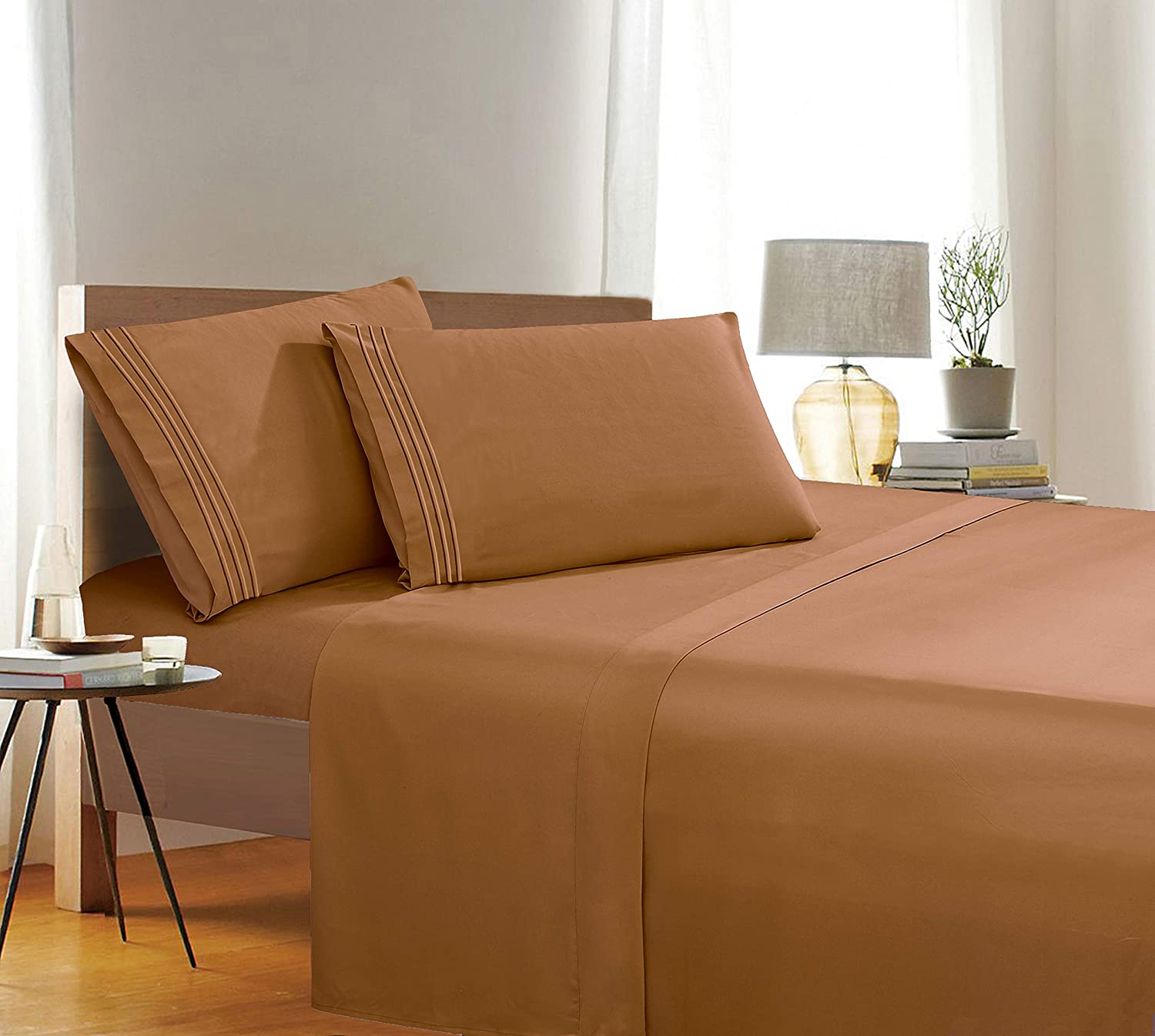 Split King Size 2 Fitted Sheet and 2 Pillowcases 1500 Thread Count Wrinkle /& Fade Resistant Egyptian Quality 5-Piece Bed Sheet Set Ultra Soft Luxurious Set Includes 1 Flat Sheet Boysenberry