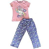 E-Fashion Conjunto de Pijama de Unicornio Suave y cómoda para Dormir, Manga Corta, Rosa