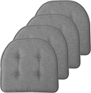"Sweet Home Collection Chair Cushion Memory Foam Pads Tufted Slip Non Skid Rubber Back U-Shaped 17"" x 16"" Seat Cover, 4 Pack, Grey"