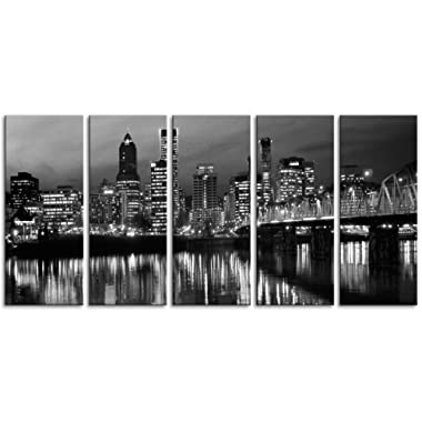 Original by BoxColors XLARGE 30 x 70  5 Panels 30 x14  Ea Art Canvas Print Portland Oregon skyline Black & white Wall Home decor (framed 1.5  depth)