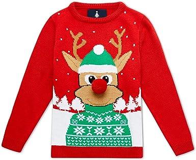 Noroze Girls Christmas 3D Jumper Kids Bird Reindeer Retro Pullover Sweater