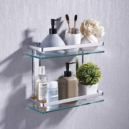 KES Estanterías para baño 35 x 12 cm (2 PISOS) Estante de vidrio para ducha, Vidrio templado Aluminio Montado en la Pared, Plateado A4126B