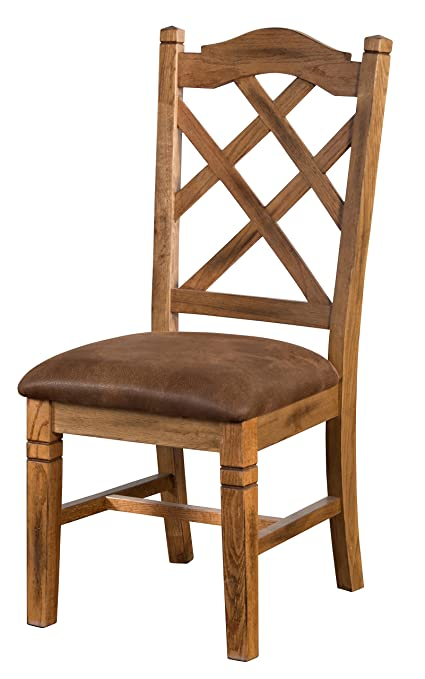 Sunny Designs 1415RO Sedona Double Crossback Chair, Rustic Oak Finish