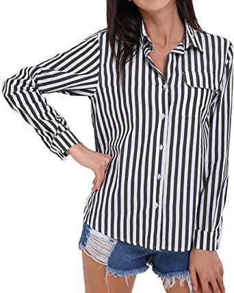 1080f1b6 StyleDome Women's Vertical Striped Loose Long Sleeve Turn Down Neck Blouse  Button Pocket Shirt Black S