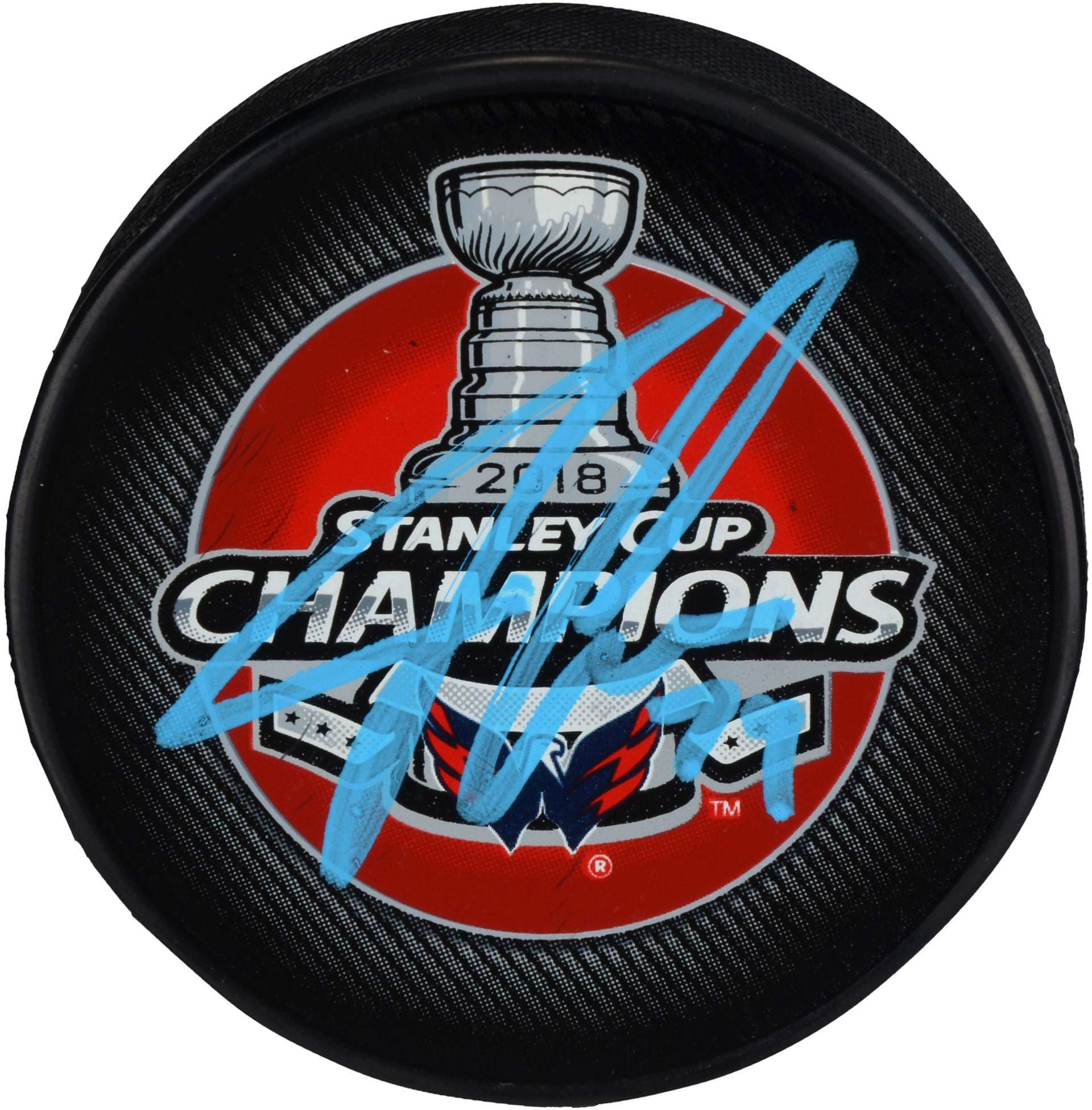 John Carlson Washington Capitals 2018 Stanley Cup Champions Autographed Stanley Cup Champions Logo Hockey Puck Fanatics Authentic Certified