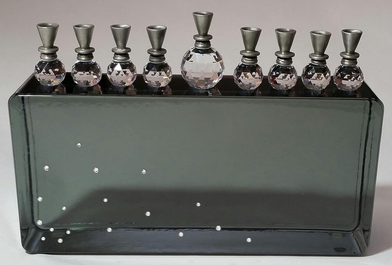クリスタル燭台 – ブラックガラス燭台 – Hanukkahギフト