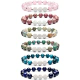 Bivei Aromatherapy Lava Stone Essential Oil Diffuser Bracelet Semi Precious Gemstone Round Beads Crystal Bracelet