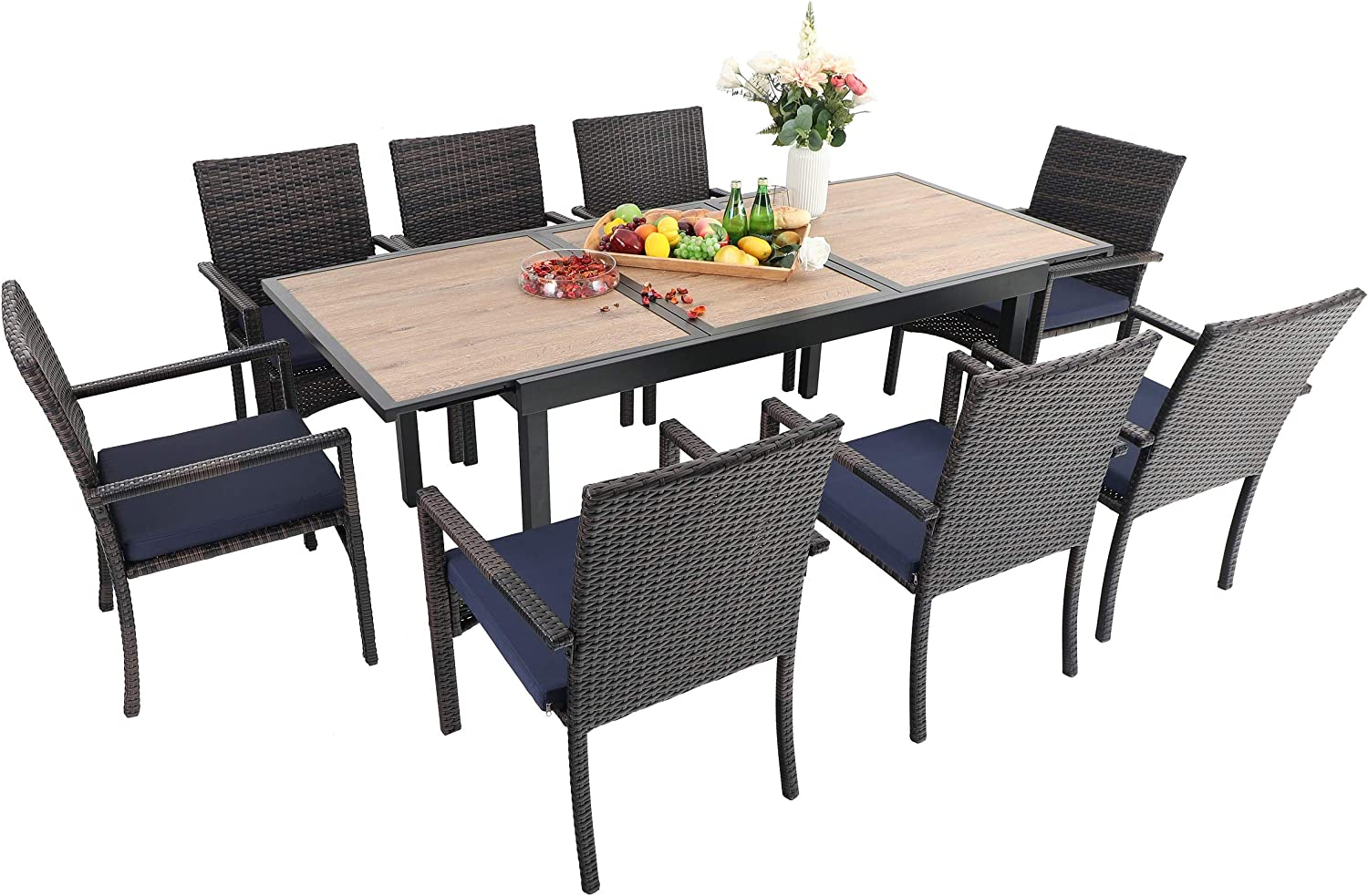 Sophia & William Outdoor Patio 9 Pieces Dining Set with 1 Expandable Rectangle Metal Table with Wood-Like Top and 8 PE Rattan Chairs. Modern Outdoor Furniture for Poolside, Porch, Patio, Balcony