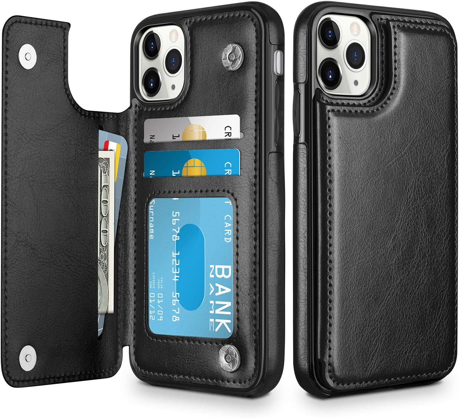 Rose Gold iPhone 11 Pro Max Case Wallet with Credit Card Holder KIHUWEY Premium Leather Magnetic Clasp Kickstand Heavy Duty Protective Cover for 11 Pro Max 6.5 Inch