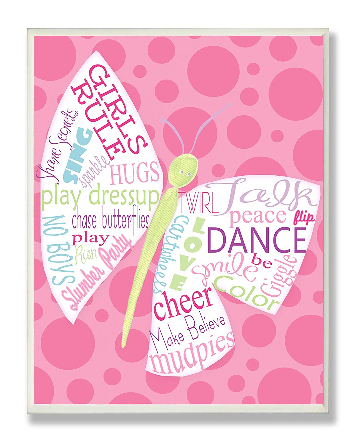 The Kids Room by Stupell Girls Rule Typography Butterfly on Pink Rectangle Wall Plaque brp-1597