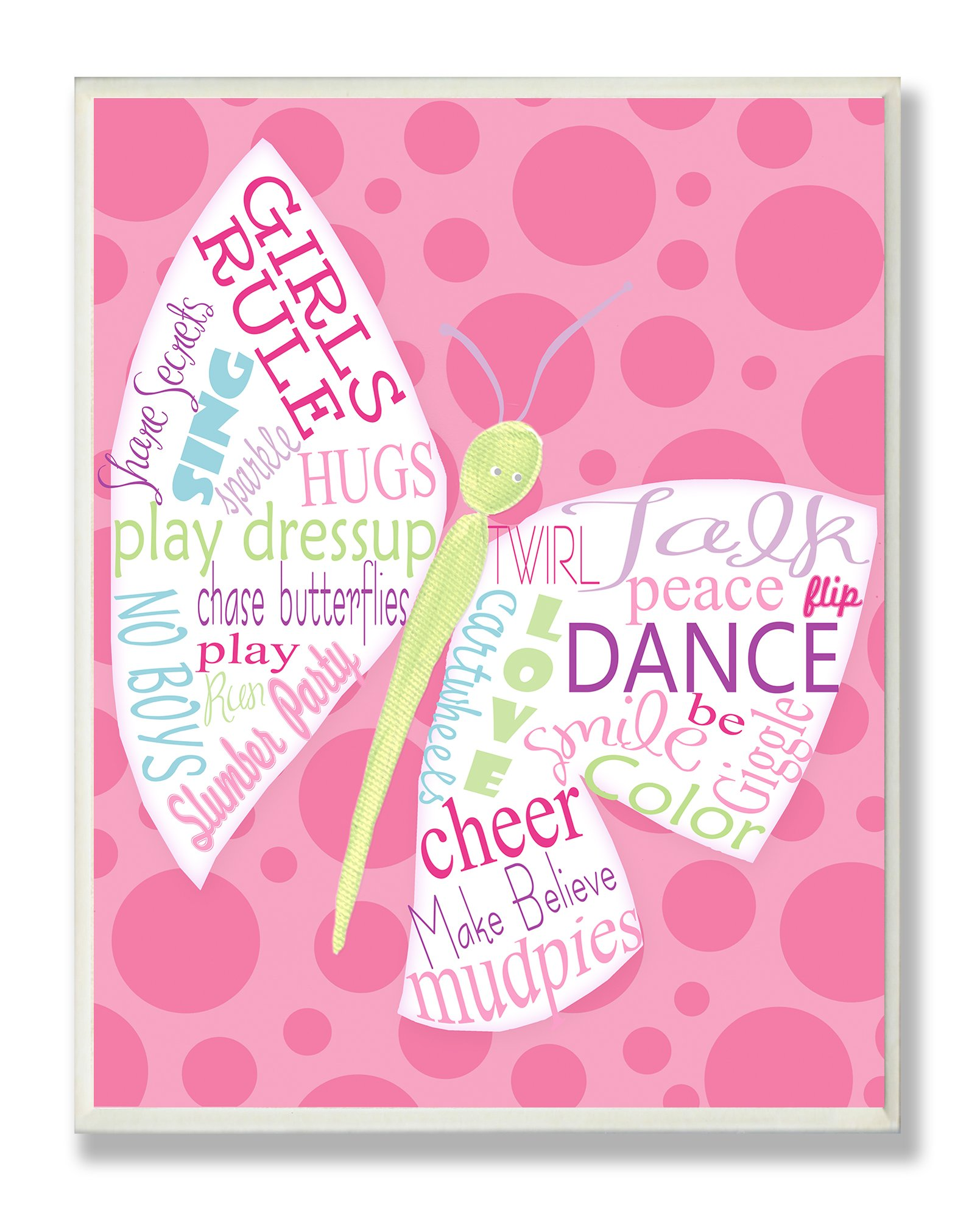 The Kids Room by Stupell Girls Rule Typography Butterfly on Pink Rectangle Wall Plaque by The Kids Room by Stupell