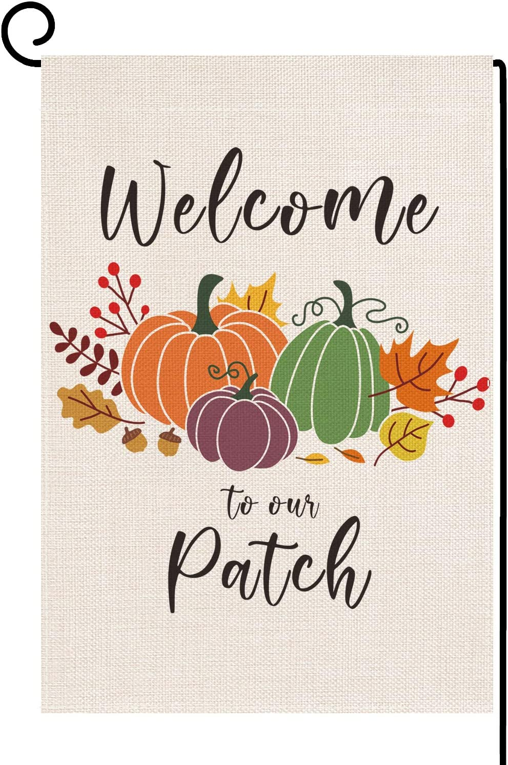 Dazonge Welcome to Our Patch Garden Flag | Vertical Double Sided Small Fall Yard Flag 12.5''x18'' | Farmhouse Flag for Fall Decor Outdoor | Thanksgiving Yard Decorations